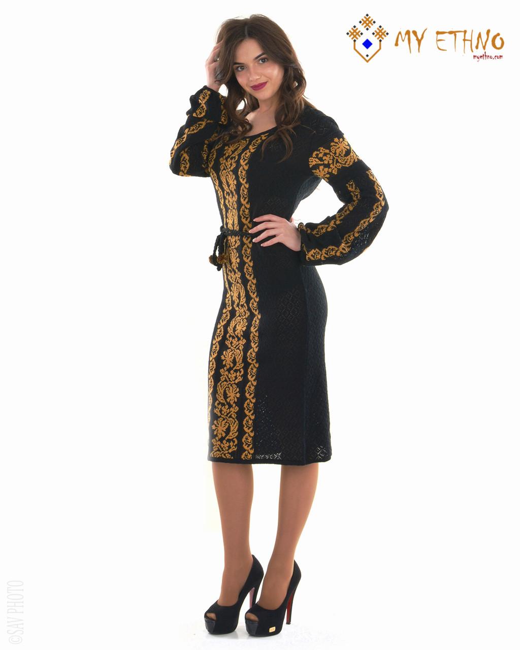 Вязаное платье Львовянка коричневая (х/б)