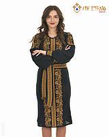Вязаное платье Роксолана коричневая (черное х/б), фото 1