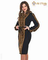 Вязаное платье Влада коричневая (черное х/б), фото 1