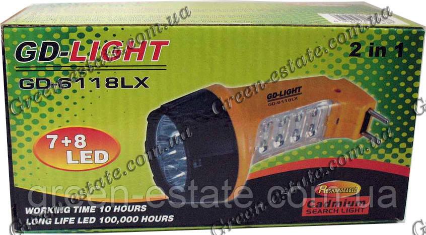 Фонарик GD-6118, 7+6 LED, аккумулятор
