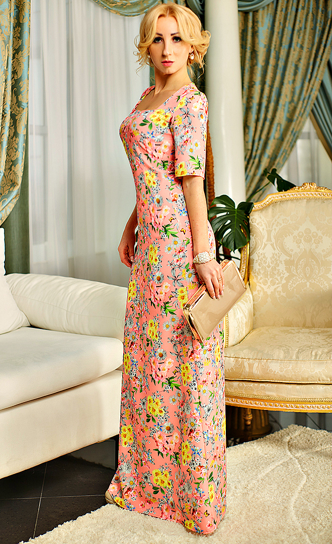 e6045d5944895f9 Купить Нарядное длинное платье с коротким рукавом 506012861 - Грация ...