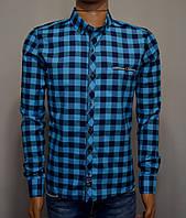 Мужская рубашка в клетку бирюзовая Турция 5050