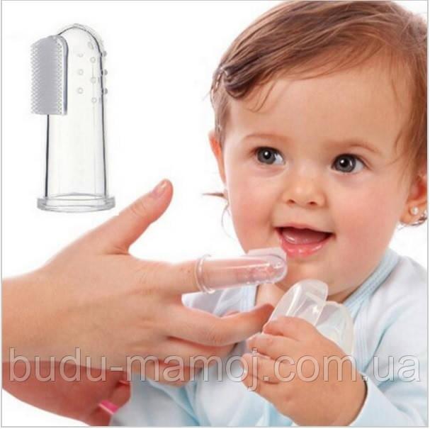 Силиконовый напальчник для чистки зубов