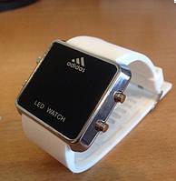 Спортивные часы Adidas LED WATCH, Адидас Лед белые ( код: IBW003O )