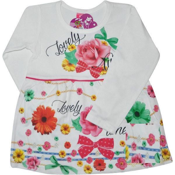 Трикотажное платье на девочку Цветы шампань