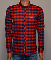 Мужская рубашка в клетку красная Турция 5051