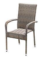 Садовый стул со спинкой из искусственного ротанга с ручками
