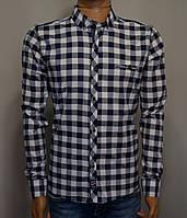 Мужская рубашка в клетку бело-синий Турция 5052