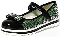 Нарядные туфли для девочки Clibee пр-во Румыния мод. 529 черно-серебристые р. 31-36