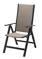 Садовый стул со спинкой раскладной из метала и петана