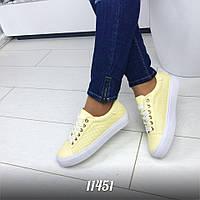 Кеды на шнурках  цвет: yellow экокожа перфорированная