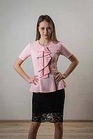 Блузка баска воротник - жабо, розовый цвет.