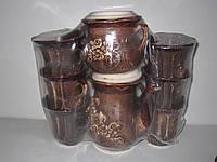 """Набор чайный """"Кармен"""" 8 предметов коричневый в ассортименте"""