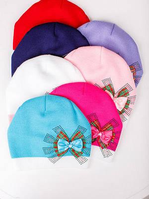 """Вязаная  шапка для девочки """"Шотландка"""""""