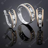 Серебряный набор украшений с черным и белыми цирконами. Артикул А-424