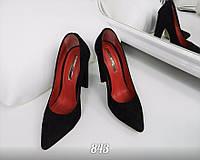Женские туфли на плоском широком каблуке с острым носом 35 37 38