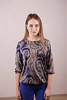 Шелковая блузка с  цветным принтом, цвет -  электрик.