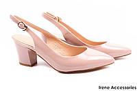Элегантные босоножки женские Mativi натуральный лак, цвет беж (стильные, каблук, удобная колодка)