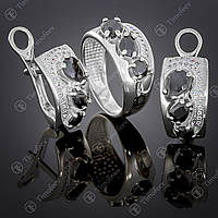 Серебряный набор украшений с черным цирконием. Артикул А-426
