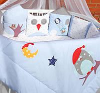 """Самый популярный комплект постельного белья для новорожденных """"Веселые Совушки"""" ТМ Куписон 8-мь бортиков + простынка"""