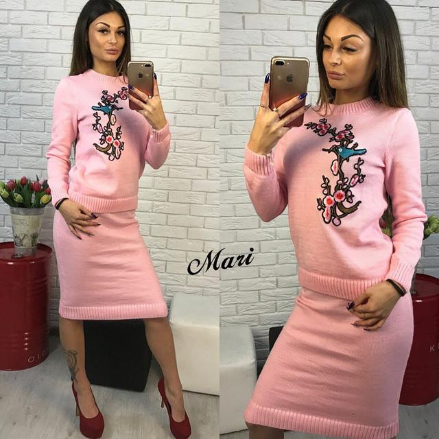 костюм женский вязаный свитер с вышивкой и юбка миди разные цвета