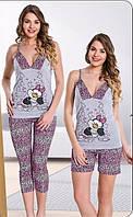 Женская пижама Lady Textile (майка+бриджи+шорты), Турция, хлопок