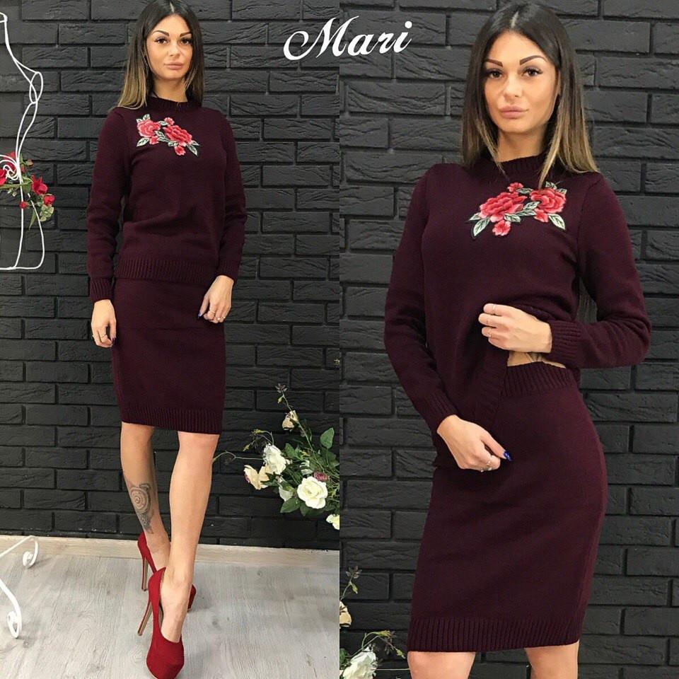 костюм женский вязаный свитер с вышивкой и юбка миди розы разные