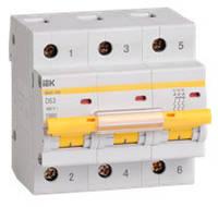 Трехполюсный автоматический выключатель ВА47-100 3P 63A 10кА IEK