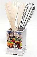 Подставка Cheese&Wine для кухонных принадлежностей + деревянные лопатки и венчик