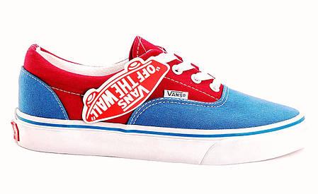 Кеды женские Vans Era Red/Blue красно-синие топ реплика, фото 2