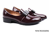 Туфли женские Lamanti натуральная лаковая кожа цвет бордо (комфорт, каблук)