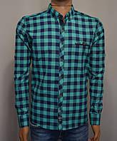Мужская рубашка в клетку мятная Турция 5053