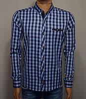 Мужская рубашка в клетку синяя Турция 5054