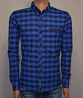 Мужская рубашка в клетку темно синяя Турция 5055