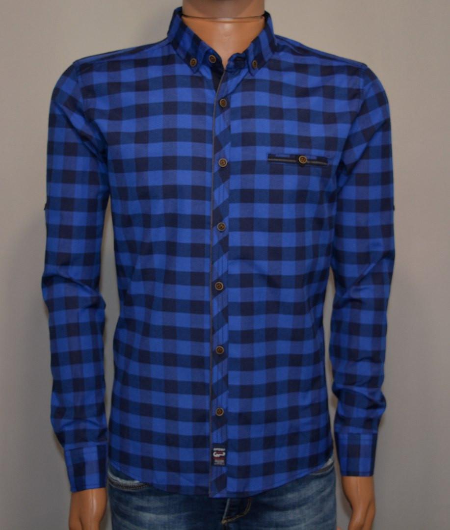 e6a674e62b6 Мужская рубашка в клетку темно синяя Турция 5055 - Я в шоке!™ в Хмельницком