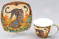Кофейная пара Леопард чашка 60мл с блюдцем, костяной фарфор