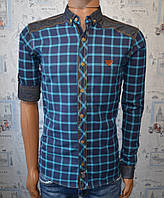 Мужская рубашка в клетку бирюзовая Турция 5037