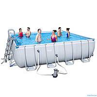 Каркасный бассейн Bestway 56626 Power Steel 488 x488 x122 см, фильтр-насос, лестница, подстилка, тент