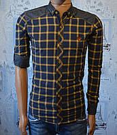 Мужская рубашка в клетку горчица Турция 5039