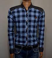 Мужская рубашка в клетку синяя Турция 5041