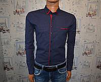 Мужская рубашка темно синяя Турция 5035