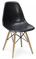 Стул Тауэр Вуд пластиковый на деревянных ножках, черный SDMРС016WNE 54*46,5*80,5, высота сиденья 42 см