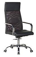 Кресло офисное компьютерное Небраска черное спинка-сетка, сиденье кожзам