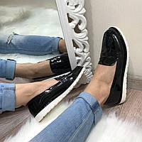 Туфли-лоферы черные, эко-лак,женские туфли весенние без каблука