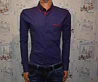 Мужская рубашка темно синяя Турция 5023