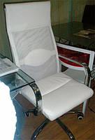 Кресло офисное компьютерное Небраска белое спинка-сетка, сиденье кожзам
