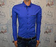 Мужская рубашка синяя Турция 5024