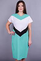 Кристалл. Стильное платье больших размеров. Мята., фото 1
