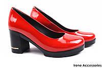 Стильные туфли женские Guero натуральная лаковая кожа цвет красный (модельные, каблук, Турция)