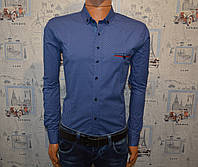 Мужская рубашка синяя Турция 5021